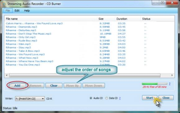 burn playlist to cd