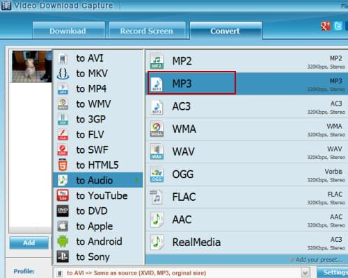 set MP3 as output format