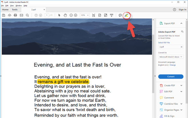 Adobe reader: how to highlight (or unhighlight) text in a pdf file.