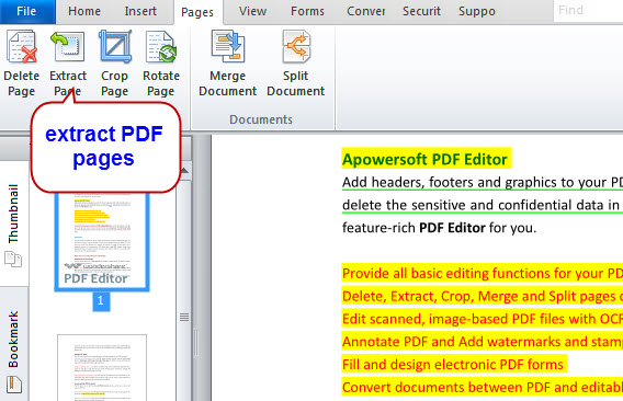 extract PDF pages with PDF Editor