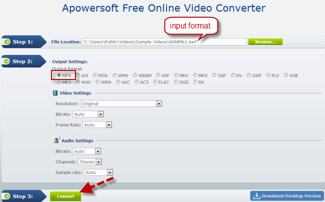Free Video Converter to convert SWF to MP4
