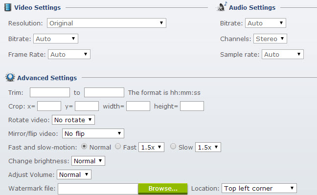 video/audio/advanced settings