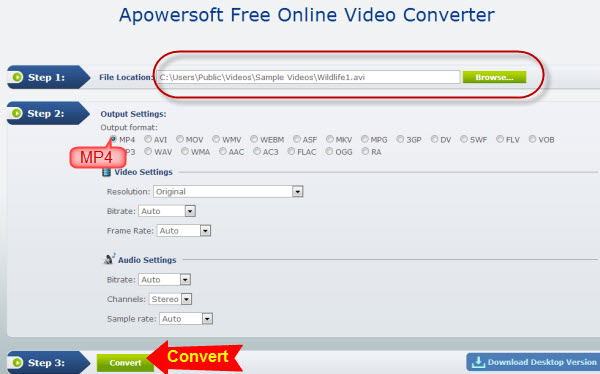 screenshot of converting AVI to MP4 with Apowersoft free converter