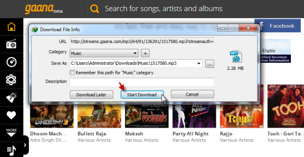 I've downloaded lots of songs from gaana. Com. But they don't.