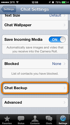 whatsapp chat backup iphone