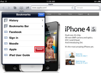 How do you delete bookmarks on the iPad?