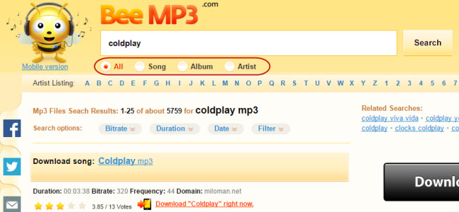 Top sites like limewire for downloading music.