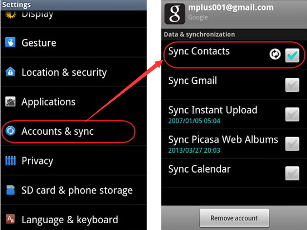 Image result for How to Sync Phone Contacts to Gmail
