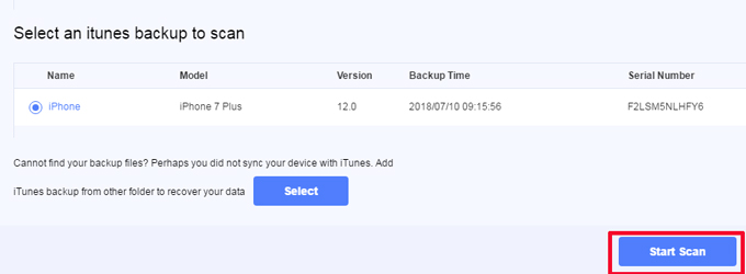 Select an iTunes Backup